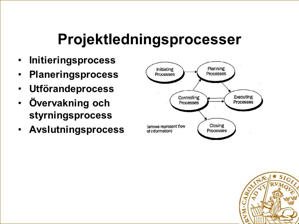 Projektledningsprocesser Initieringsprocess Planeringsprocess Utförandeprocess Övervakning och styrningsprocess Avslutningsprocess