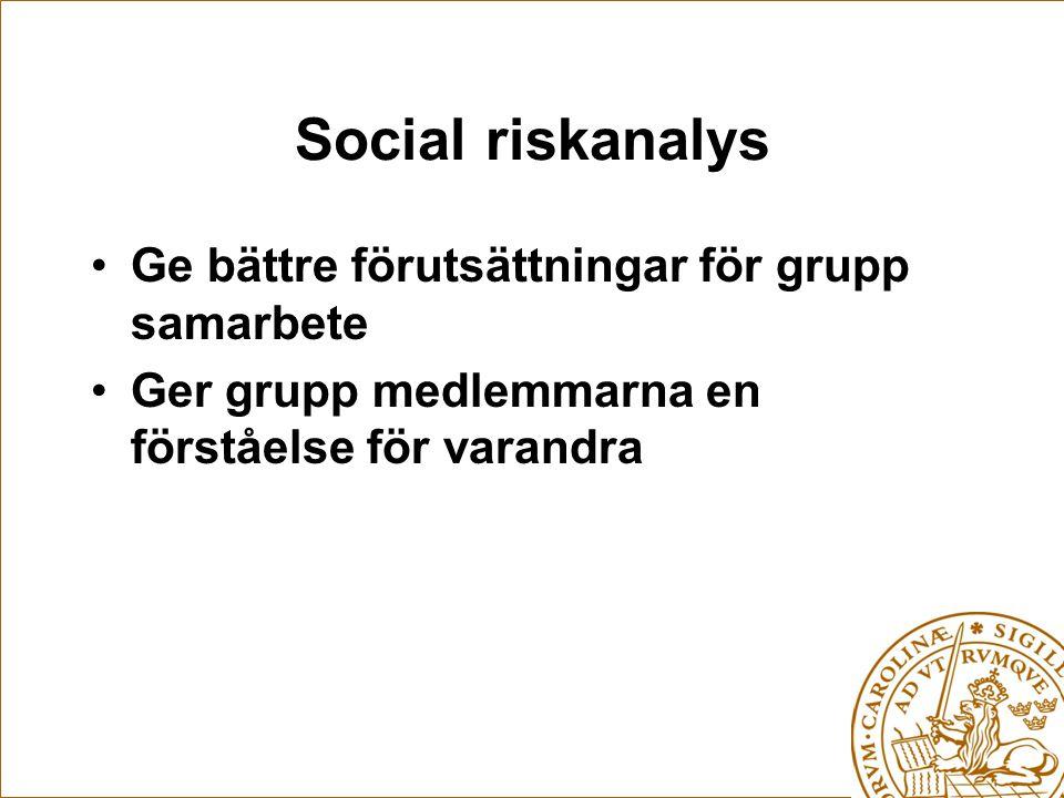 Social riskanalys Ge bättre förutsättningar för grupp samarbete Ger grupp medlemmarna en förståelse för varandra