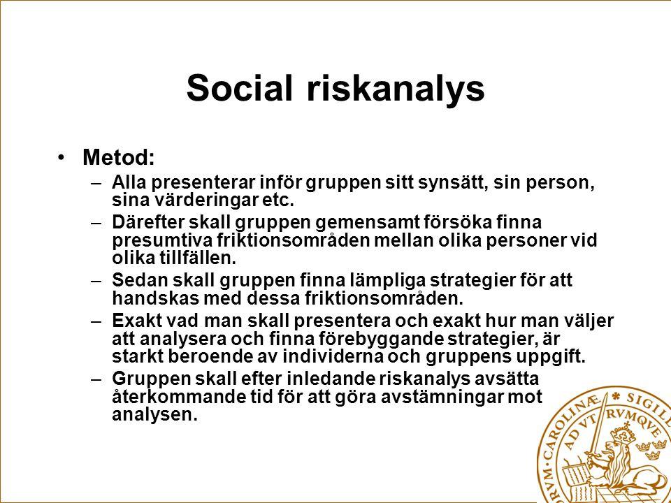 Social riskanalys Metod: –Alla presenterar inför gruppen sitt synsätt, sin person, sina värderingar etc.