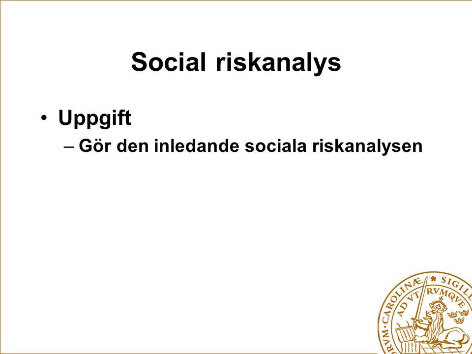 Social riskanalys Uppgift –Gör den inledande sociala riskanalysen