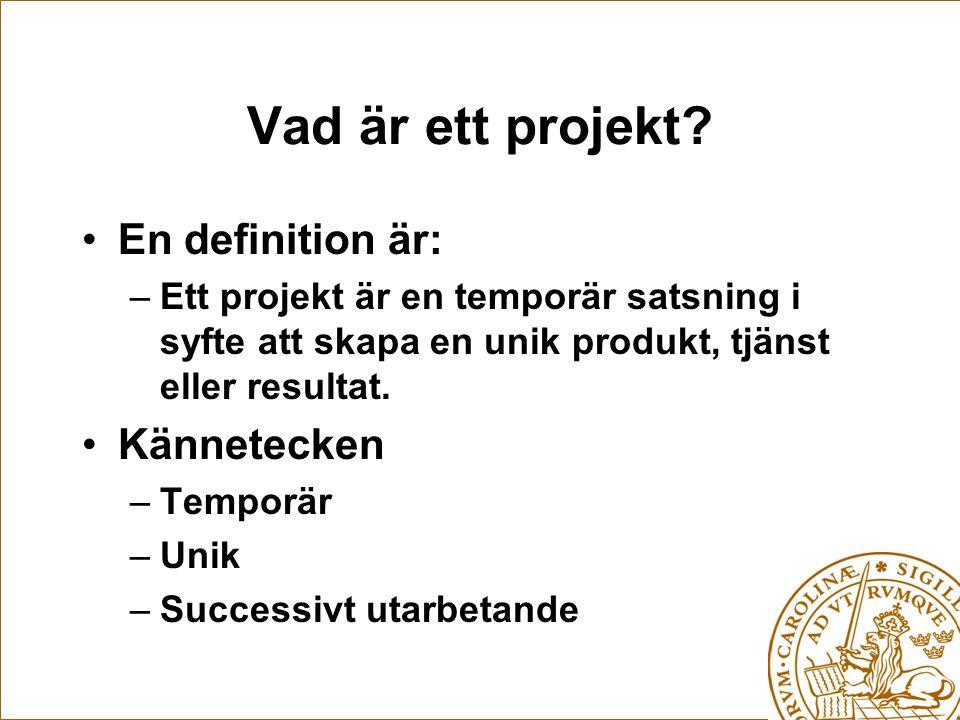 En definition är: –Ett projekt är en temporär satsning i syfte att skapa en unik produkt, tjänst eller resultat.