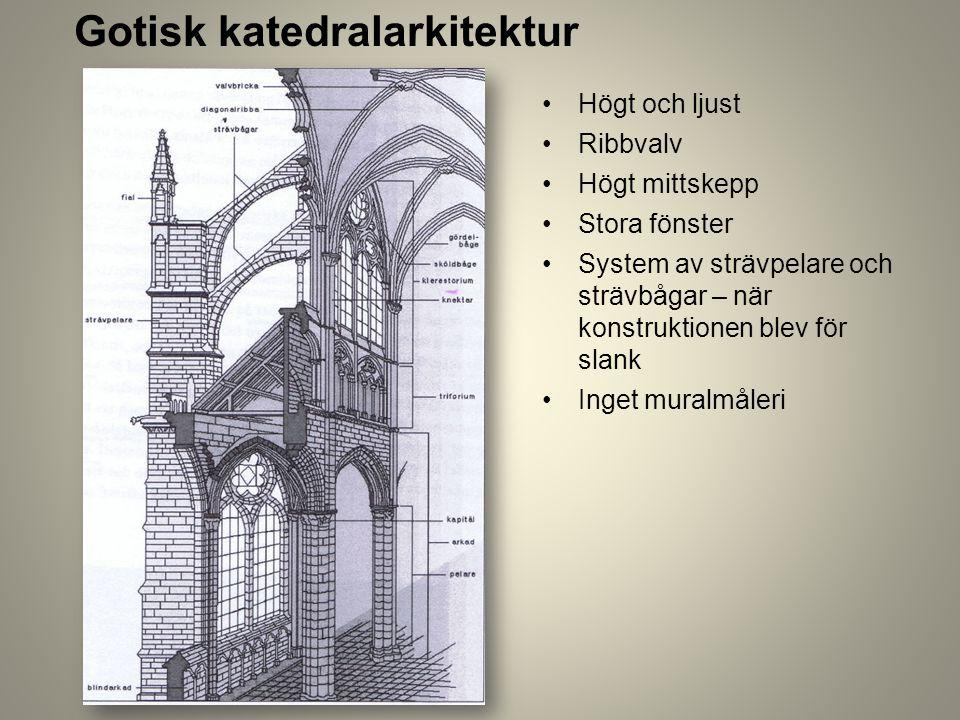 Gotisk katedralarkitektur Högt och ljust Ribbvalv Högt mittskepp Stora fönster System av strävpelare och strävbågar – när konstruktionen blev för slan
