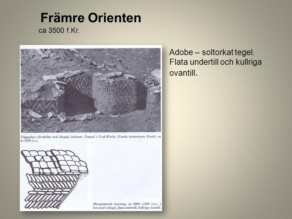 Främre Orienten Adobe – soltorkat tegel. Flata undertill och kullriga ovantill. ca 3500 f.Kr.