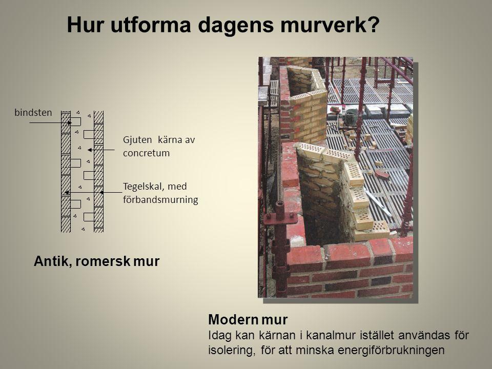 Hur utforma dagens murverk? Modern mur Idag kan kärnan i kanalmur istället användas för isolering, för att minska energiförbrukningen Antik, romersk m