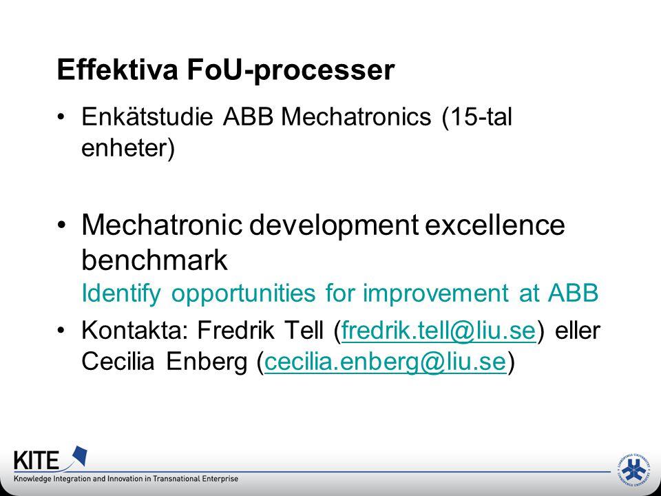 Effektiva FoU-processer Enkätstudie ABB Mechatronics (15-tal enheter) Mechatronic development excellence benchmark Identify opportunities for improvement at ABB Kontakta: Fredrik Tell (fredrik.tell@liu.se) eller Cecilia Enberg (cecilia.enberg@liu.se)fredrik.tell@liu.sececilia.enberg@liu.se