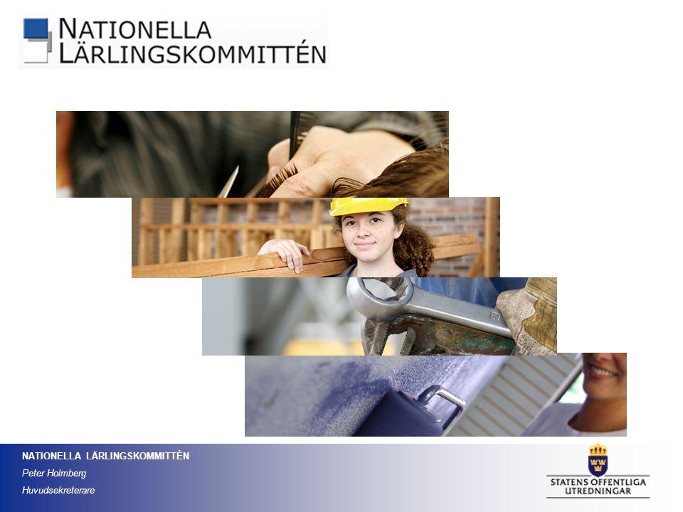 NATIONELLA LÄRLINGSKOMMITTÉN Peter Holmberg Huvudsekreterare Följa utvecklingen inom den arbetsplatsförlagda utbildningen inom ramen för försöksverksamheten med gymnasial lärlingsutbildning Bedöma hur väl den svarar mot arbetsmarknadens behov Främja den arbetsplatsförlagda utbildningen inom försöksverksamheten och därmed bidra till att höja kvaliteten i den yrkesinriktade utbildningen Ge råd och stöd till huvudmän, lärlingsråd och företag i anslutning till försöksverksamheten Kommitténs uppdrag