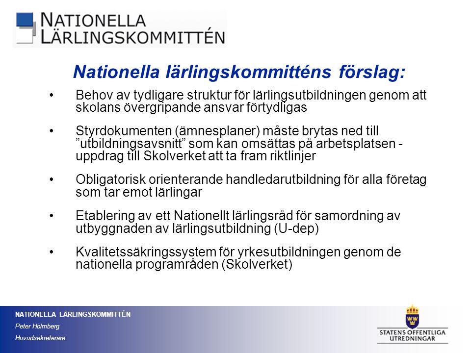 NATIONELLA LÄRLINGSKOMMITTÉN Peter Holmberg Huvudsekreterare Behov av tydligare struktur för lärlingsutbildningen genom att skolans övergripande ansva