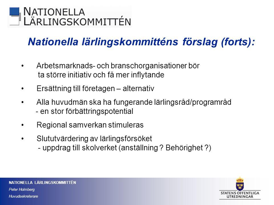 NATIONELLA LÄRLINGSKOMMITTÉN Peter Holmberg Huvudsekreterare Arbetsmarknads- och branschorganisationer bör ta större initiativ och få mer inflytande E