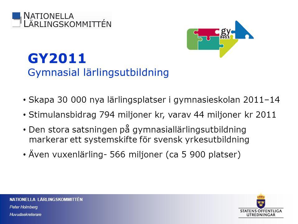 NATIONELLA LÄRLINGSKOMMITTÉN Peter Holmberg Huvudsekreterare GY2011 Gymnasial lärlingsutbildning Skapa 30 000 nya lärlingsplatser i gymnasieskolan 201