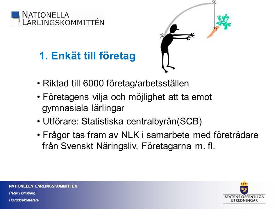 NATIONELLA LÄRLINGSKOMMITTÉN Peter Holmberg Huvudsekreterare 1. Enkät till företag Riktad till 6000 företag/arbetsställen Företagens vilja och möjligh