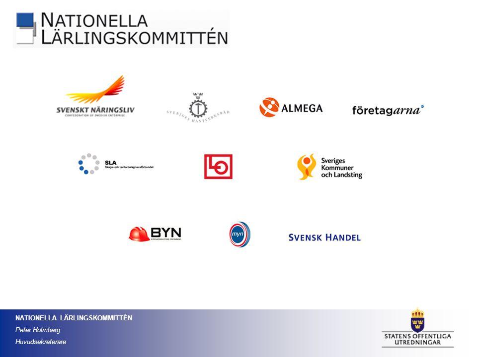 NATIONELLA LÄRLINGSKOMMITTÉN Peter Holmberg Huvudsekreterare Idag finns inget utvecklat system för att utse arbetslivsföre- trädare i lärlingsråden.