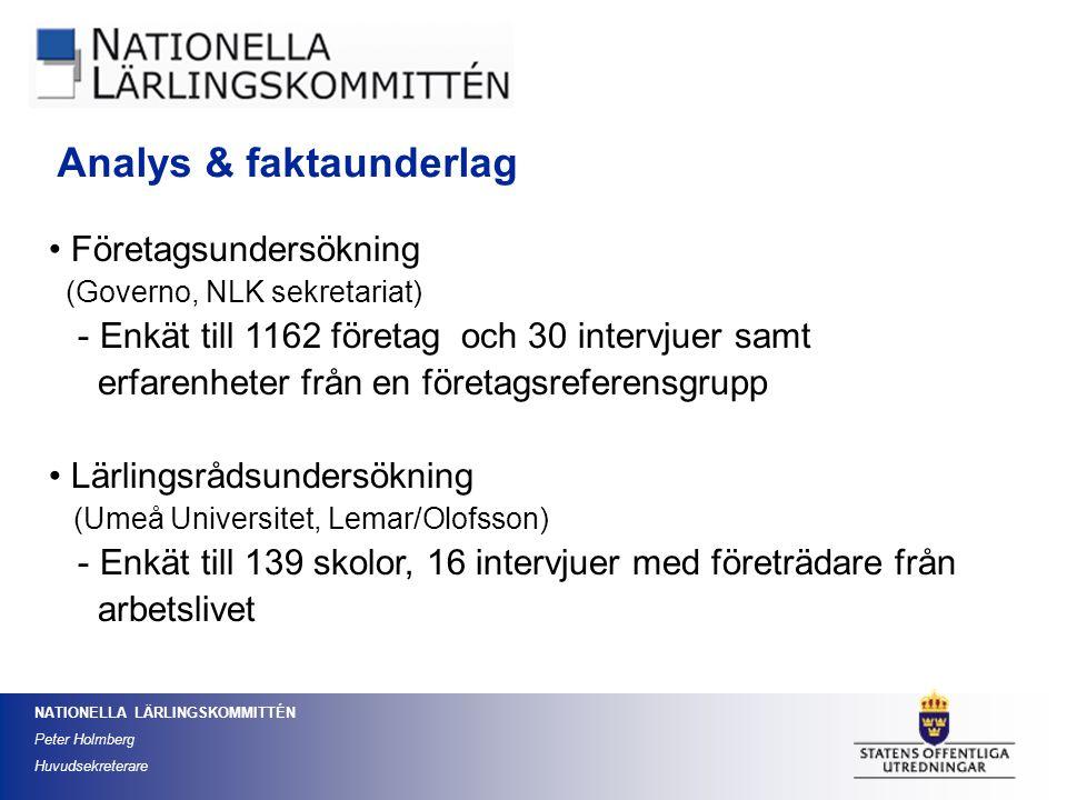 NATIONELLA LÄRLINGSKOMMITTÉN Peter Holmberg Huvudsekreterare Företagsundersökning (Governo, NLK sekretariat) - Enkät till 1162 företag och 30 intervju