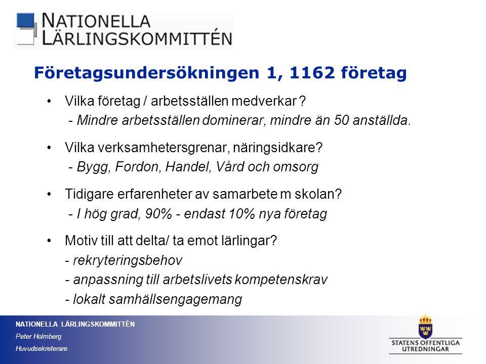 NATIONELLA LÄRLINGSKOMMITTÉN Peter Holmberg Huvudsekreterare Vilka företag / arbetsställen medverkar ? - Mindre arbetsställen dominerar, mindre än 50