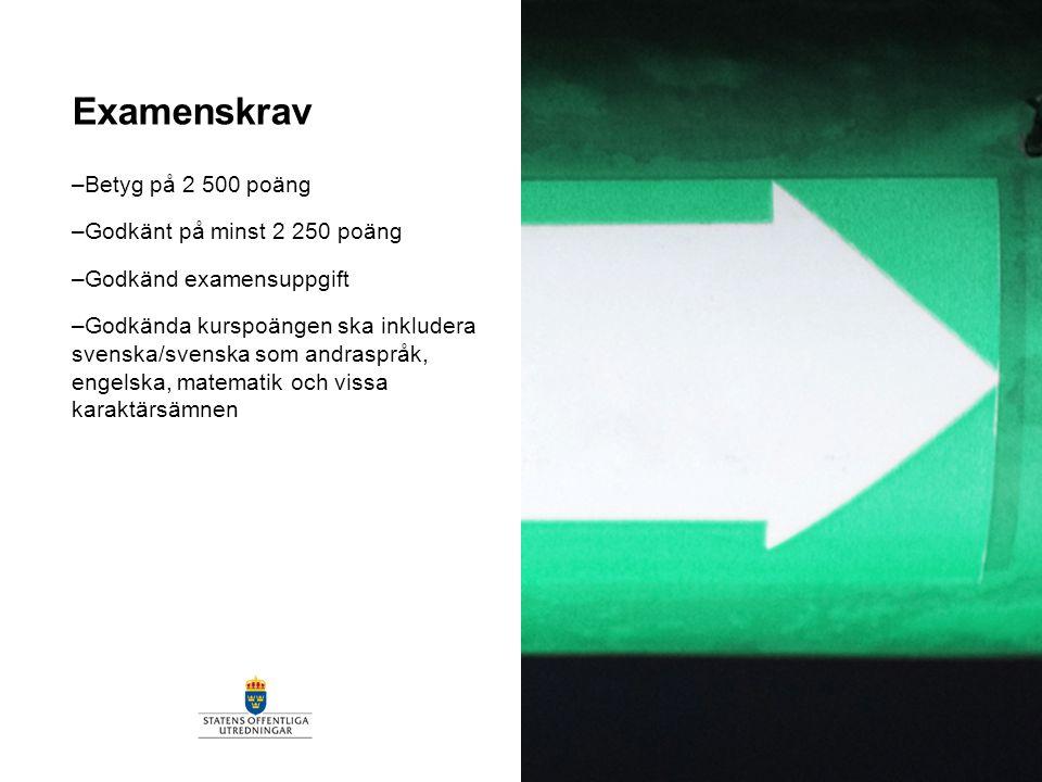 Examenskrav –Betyg på 2 500 poäng –Godkänt på minst 2 250 poäng –Godkänd examensuppgift –Godkända kurspoängen ska inkludera svenska/svenska som andras