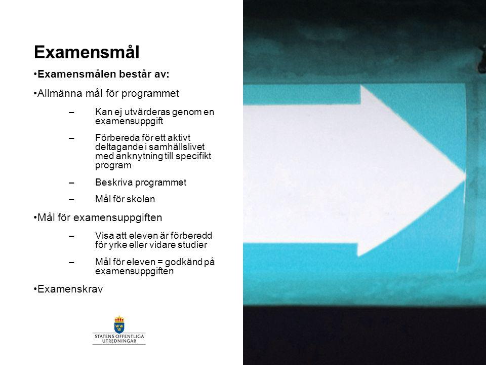 Examensmål Examensmålen består av: Allmänna mål för programmet –Kan ej utvärderas genom en examensuppgift –Förbereda för ett aktivt deltagande i samhä