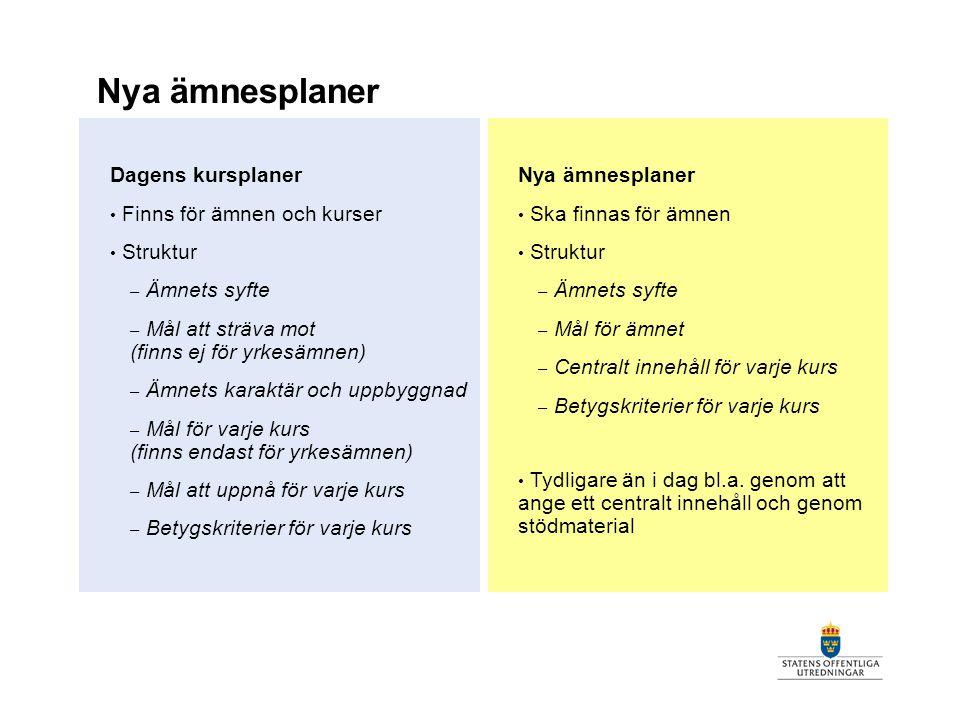Nya ämnesplaner Dagens kursplaner Finns för ämnen och kurser Struktur – Ämnets syfte – Mål att sträva mot (finns ej för yrkesämnen) – Ämnets karaktär
