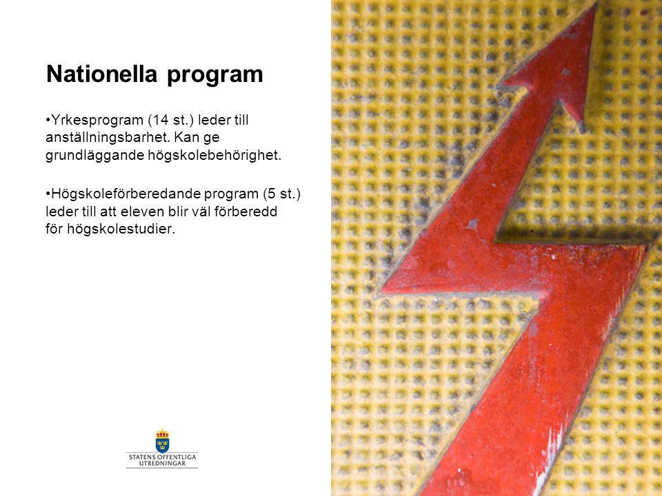 Nationella program Yrkesprogram (14 st.) leder till anställningsbarhet. Kan ge grundläggande högskolebehörighet. Högskoleförberedande program (5 st.)