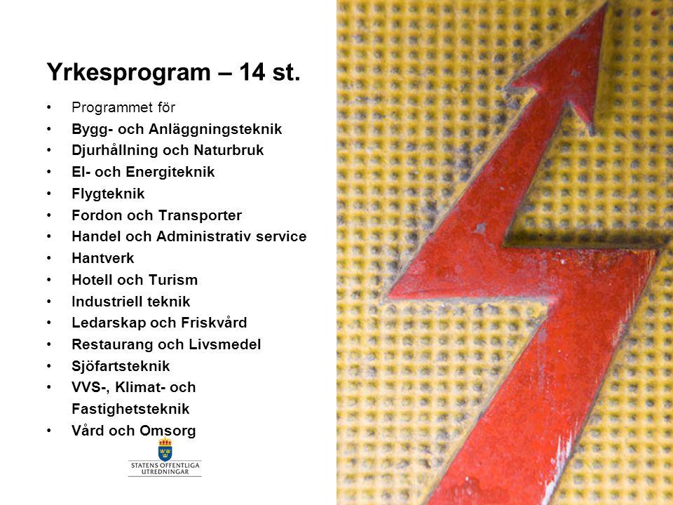 Yrkesprogram – 14 st. Programmet för Bygg- och Anläggningsteknik Djurhållning och Naturbruk El- och Energiteknik Flygteknik Fordon och Transporter Han