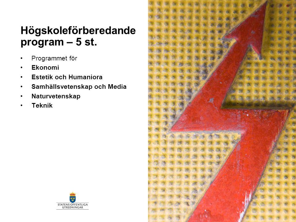 Högskoleförberedande program – 5 st. Programmet för Ekonomi Estetik och Humaniora Samhällsvetenskap och Media Naturvetenskap Teknik