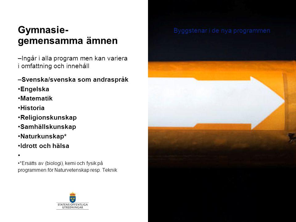 –Ingår i alla program men kan variera i omfattning och innehåll –Svenska/svenska som andraspråk Engelska Matematik Historia Religionskunskap Samhällsk