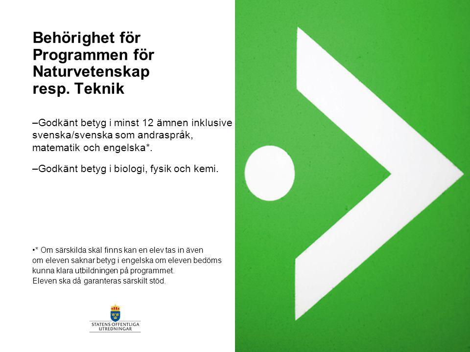 Behörighet för Programmen för Naturvetenskap resp. Teknik –Godkänt betyg i minst 12 ämnen inklusive svenska/svenska som andraspråk, matematik och enge