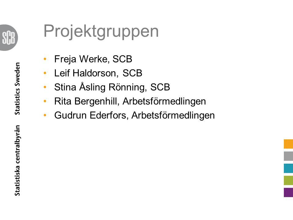 Projektgruppen Freja Werke, SCB Leif Haldorson, SCB Stina Åsling Rönning, SCB Rita Bergenhill, Arbetsförmedlingen Gudrun Ederfors, Arbetsförmedlingen