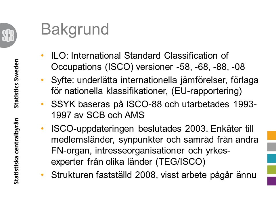 Bakgrund ILO: International Standard Classification of Occupations (ISCO) versioner -58, -68, -88, -08 Syfte: underlätta internationella jämförelser, förlaga för nationella klassifikationer, (EU-rapportering) SSYK baseras på ISCO-88 och utarbetades 1993- 1997 av SCB och AMS ISCO-uppdateringen beslutades 2003.