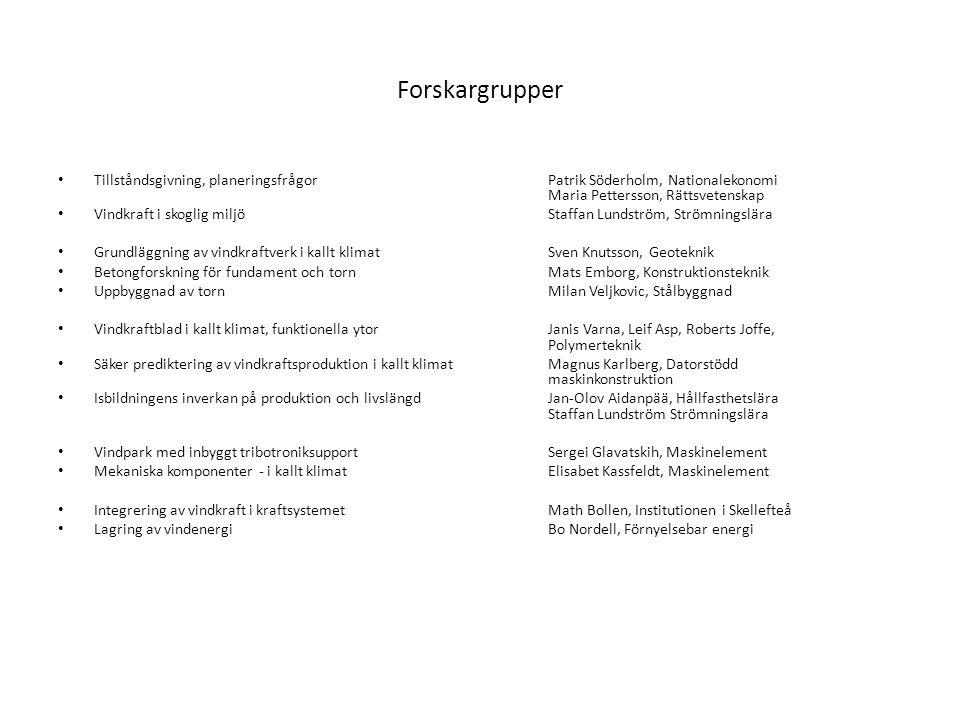 Forskargrupper Tillståndsgivning, planeringsfrågorPatrik Söderholm, Nationalekonomi Maria Pettersson, Rättsvetenskap Vindkraft i skoglig miljöStaffan