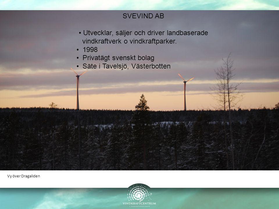 Vy över Dragaliden SVEVIND AB Utvecklar, säljer och driver landbaserade vindkraftverk o vindkraftparker. 1998 Privatägt svenskt bolag Säte i Tavelsjö,