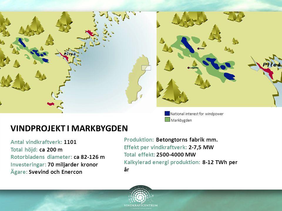 VINDPROJEKT I MARKBYGDEN Antal vindkraftverk: 1101 Total höjd: ca 200 m Rotorbladens diameter: ca 82-126 m Investeringar: 70 miljarder kronor Ägare: Svevind och Enercon Produktion: Betongtorns fabrik mm.