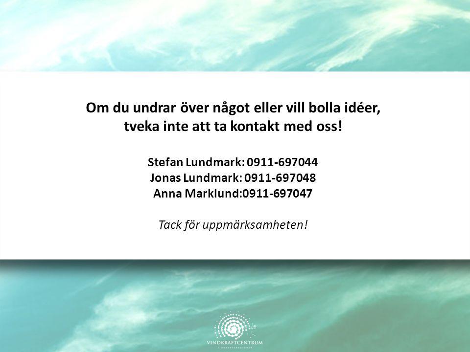 Om du undrar över något eller vill bolla idéer, tveka inte att ta kontakt med oss! Stefan Lundmark: 0911-697044 Jonas Lundmark: 0911-697048 Anna Markl