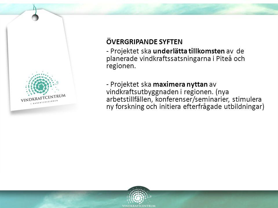 ÖVERGRIPANDE SYFTEN - Projektet ska underlätta tillkomsten av de planerade vindkraftssatsningarna i Piteå och regionen. - Projektet ska maximera nytta