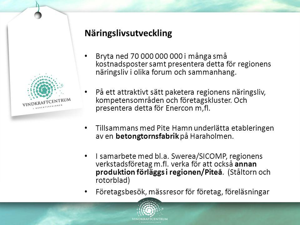 Näringslivsutveckling Bryta ned 70 000 000 000 i många små kostnadsposter samt presentera detta för regionens näringsliv i olika forum och sammanhang.