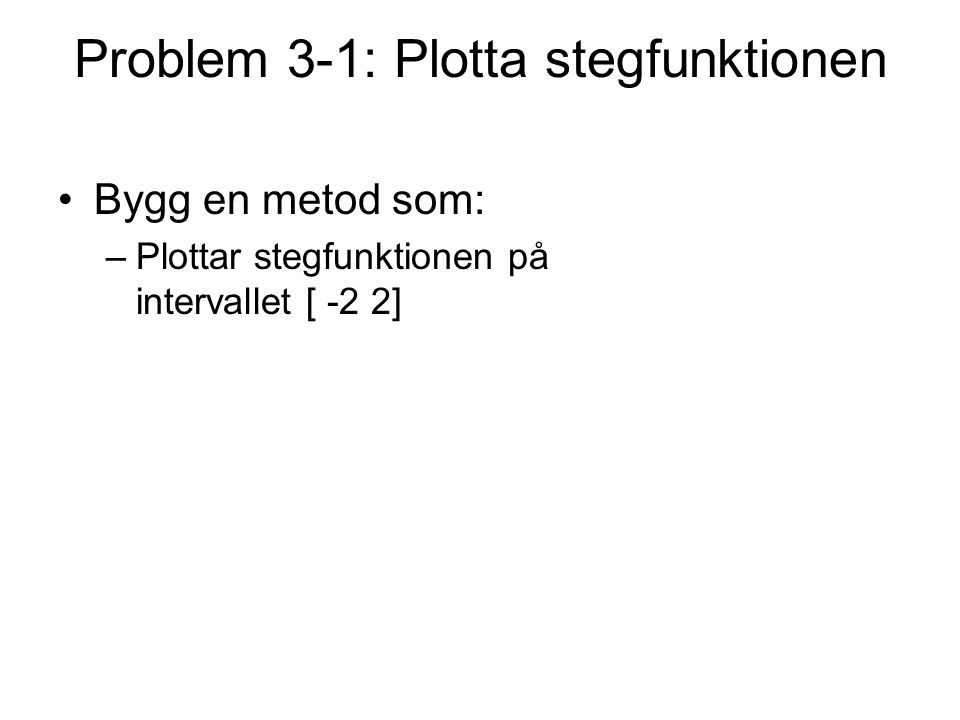 Problem 3-1: Plotta stegfunktionen Bygg en metod som: –Plottar stegfunktionen på intervallet [ -2 2]