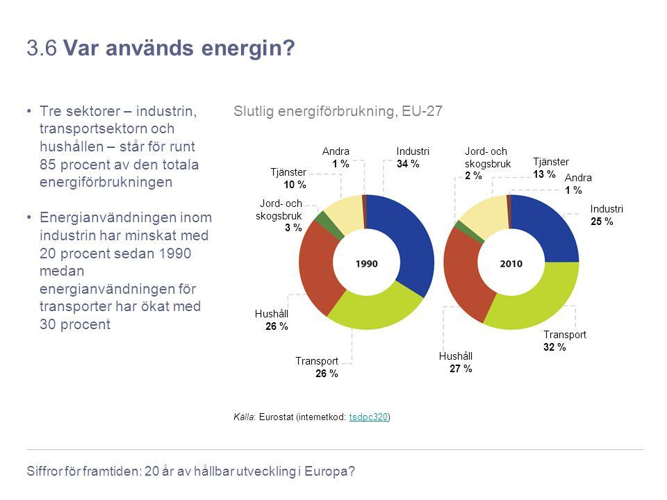 Siffror för framtiden: 20 år av hållbar utveckling i Europa? 3.6 Var används energin? Tre sektorer – industrin, transportsektorn och hushållen – står