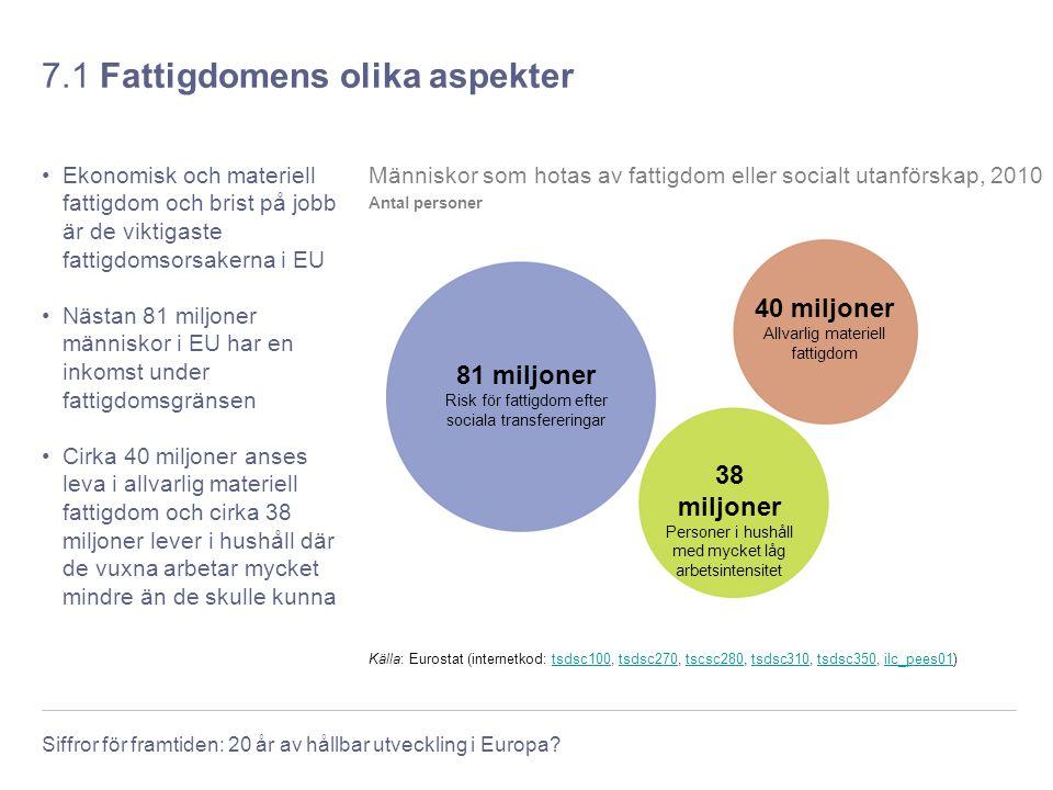 Siffror för framtiden: 20 år av hållbar utveckling i Europa? 7.1 Fattigdomens olika aspekter Ekonomisk och materiell fattigdom och brist på jobb är de