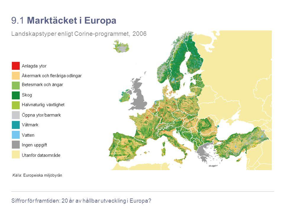 Siffror för framtiden: 20 år av hållbar utveckling i Europa? 9.1 Marktäcket i Europa Källa: Europeiska miljöbyrån Landskapstyper enligt Corine-program