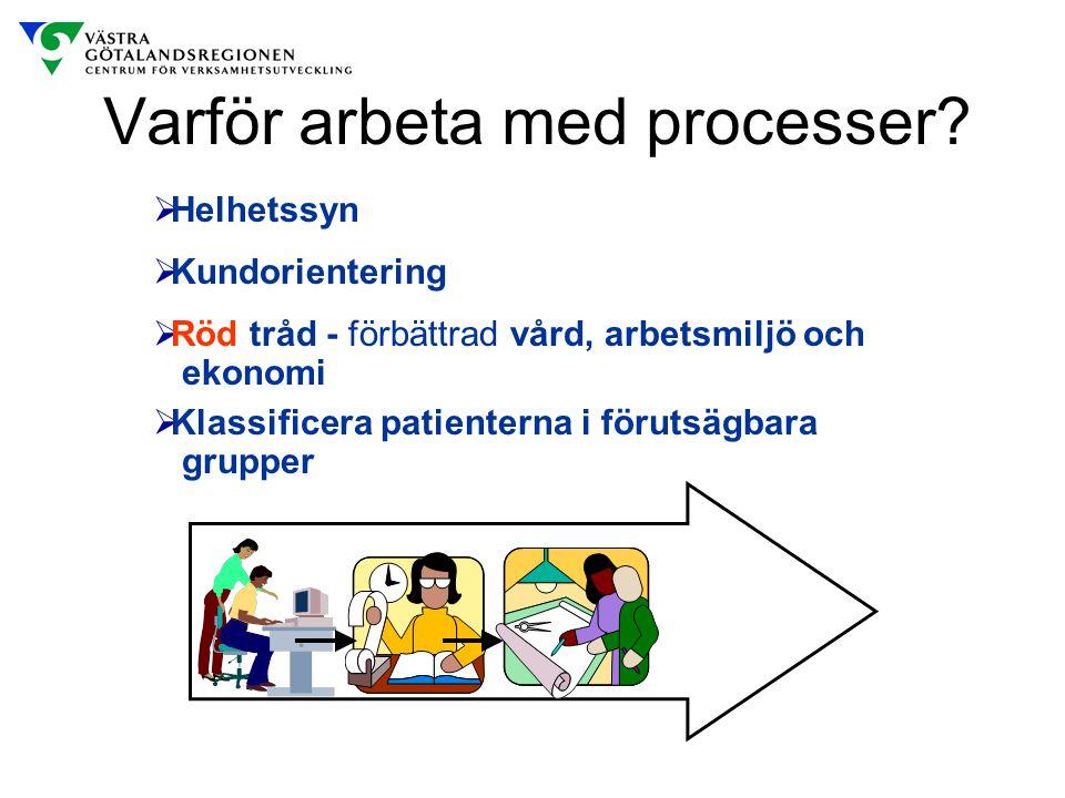 Varför arbeta med processer?  Klassificera patienterna i förutsägbara grupper  Helhetssyn  Kundorientering  Röd tråd - förbättrad vård, arbetsmilj