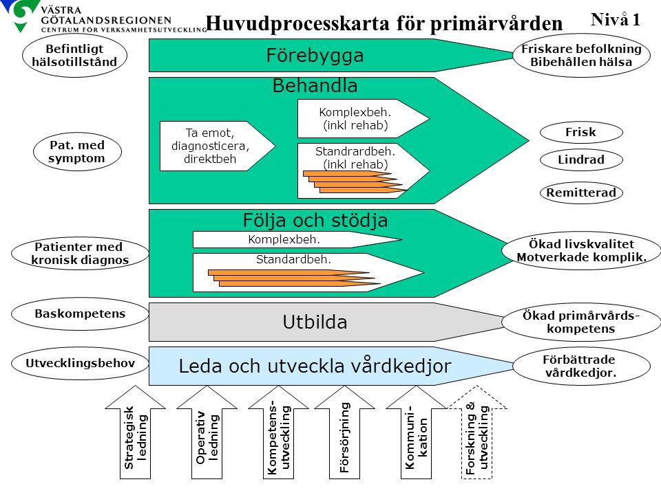 Förebygga Huvudprocesskarta för primärvården Nivå 1 Kompetens- utveckling Strategisk ledning Operativ ledning Försörjning Kommuni- kation Utbilda Leda