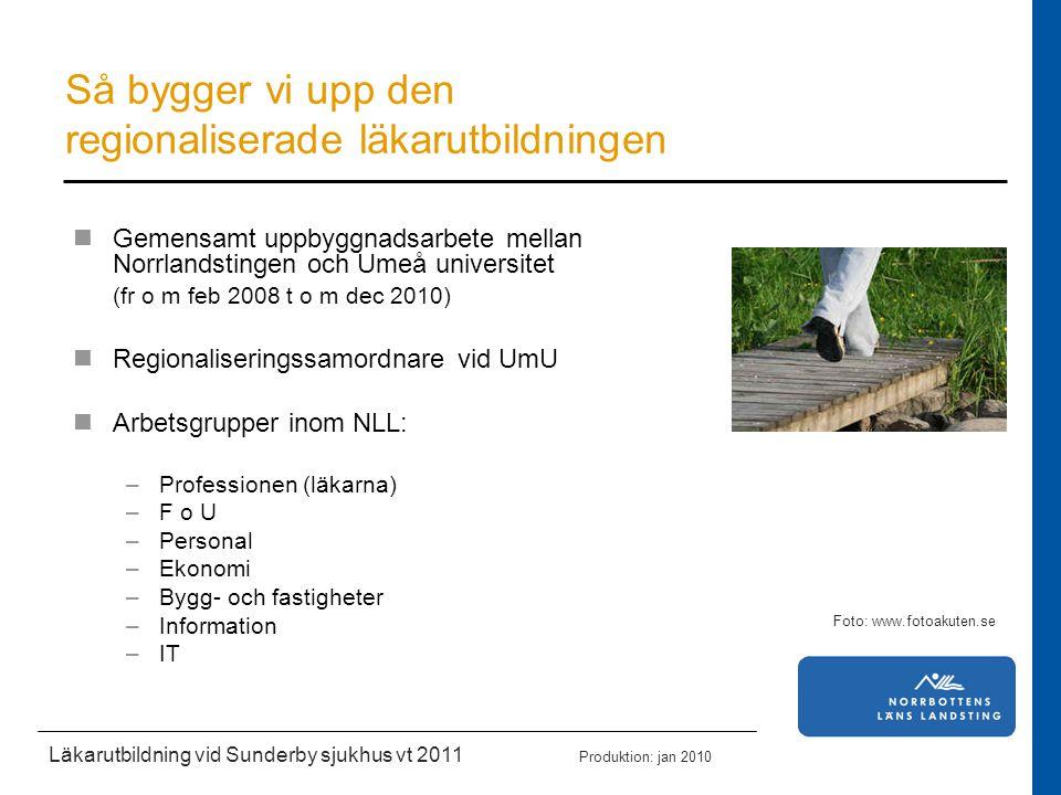 Akademisk miljö vid Sunderby sjukhus och NLL Kompetensutveckling för NLL:s personal Studiesocial miljö, boende och transporter Marknadsföring av Sunderby sjukhus och NLL Intern och extern förankring Effektmål: Läkarutbildningen ska hålla god kvalitet Personalen ska ha god förmåga att arbeta i en kombinerad studie- och driftsmiljö 10 studenter per termin väljer Sunderby sjukhus Ca 80 % av läkarstudenterna ska göra sin AT inom NLL Läkarutbildning vid Sunderby sjukhus vt 2011 Produktion: jan 2010 Foto: Maria Åberg, meramedia samt Info NLL Våra målområden inom NLL är;