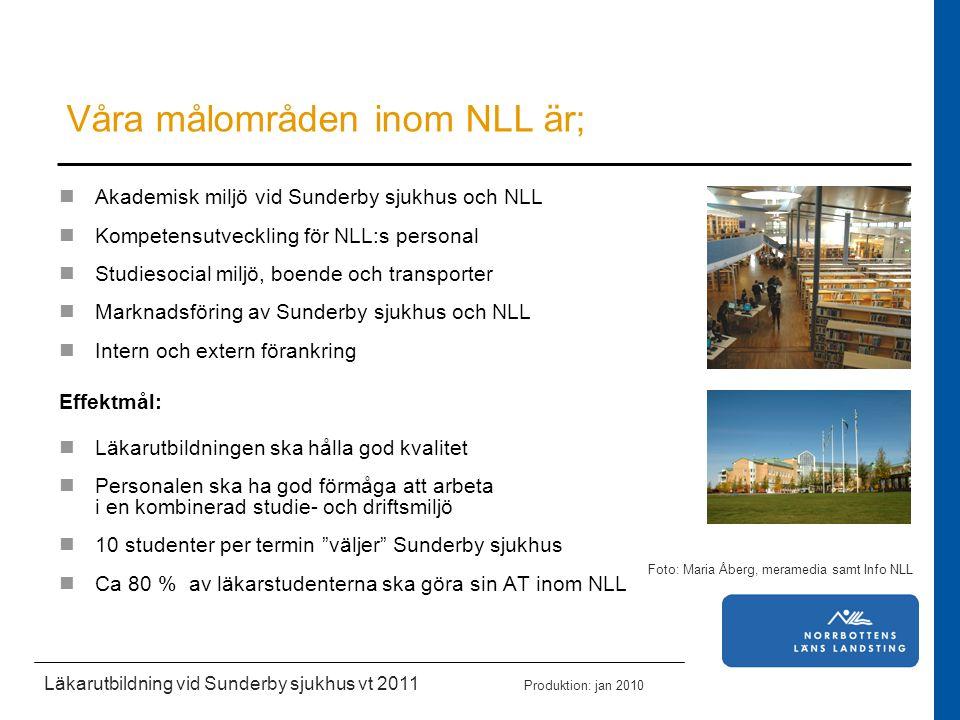 Akademisk miljö vid Sunderby sjukhus och NLL Kompetensutveckling för NLL:s personal Studiesocial miljö, boende och transporter Marknadsföring av Sunde