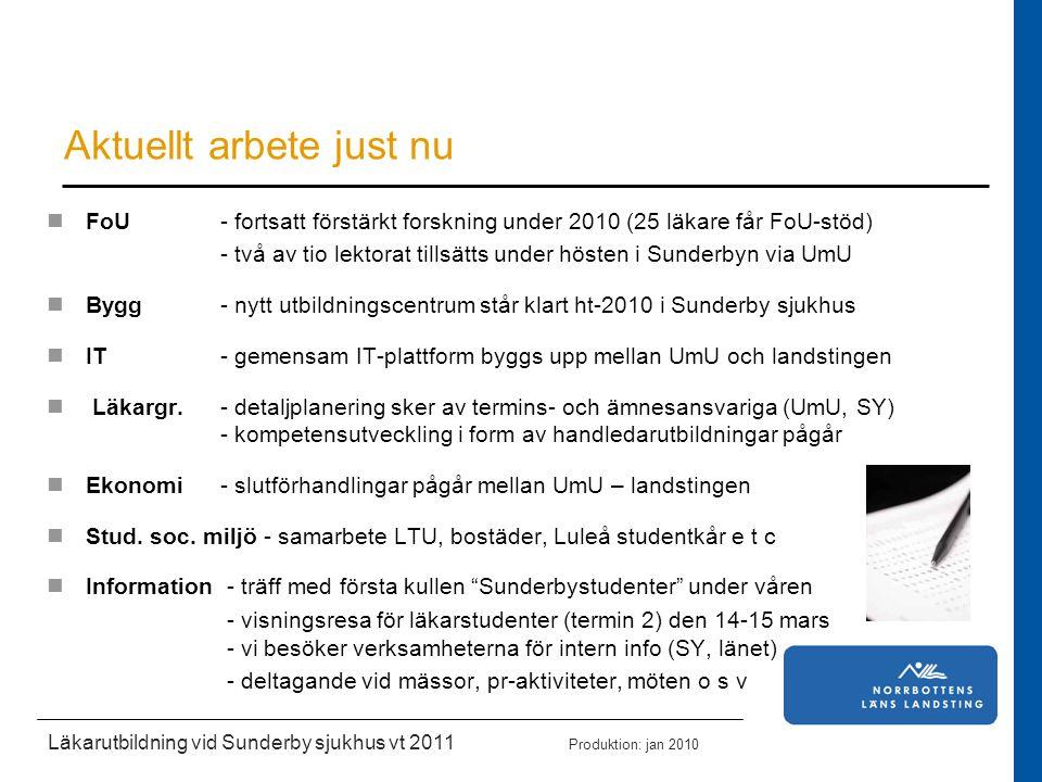 Läkarutbildning vid Sunderby sjukhus vt 2011 Produktion: jan 2010 Aktuellt arbete just nu FoU - fortsatt förstärkt forskning under 2010 (25 läkare får