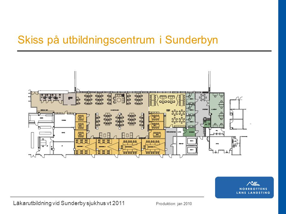 Läkarutbildning vid Sunderby sjukhus vt 2011 Produktion: jan 2010 Skiss på utbildningscentrum i Sunderbyn