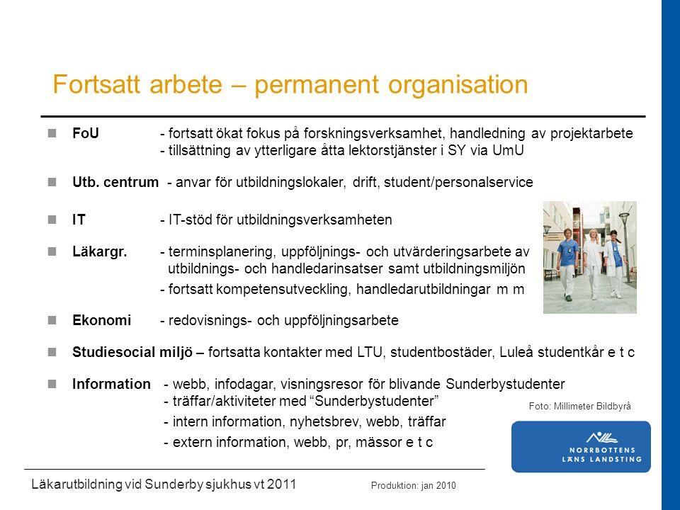 Läkarutbildning vid Sunderby sjukhus vt 2011 Produktion: jan 2010 Fortsatt arbete – permanent organisation FoU - fortsatt ökat fokus på forskningsverk