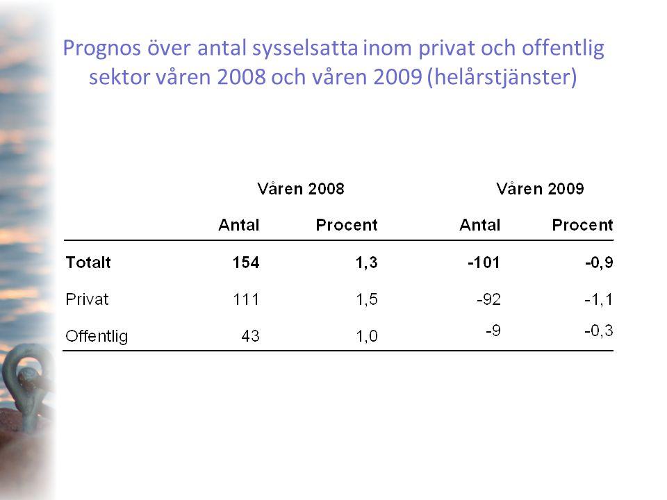 Prognos över antal sysselsatta inom privat och offentlig sektor våren 2008 och våren 2009 (helårstjänster)