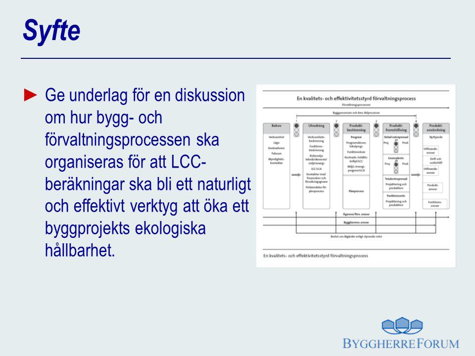 Syfte ► Ge underlag för en diskussion om hur bygg- och förvaltningsprocessen ska organiseras för att LCC- beräkningar ska bli ett naturligt och effekt