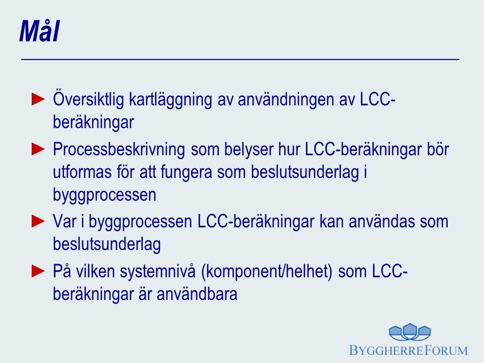 Mål ► Översiktlig kartläggning av användningen av LCC- beräkningar ► Processbeskrivning som belyser hur LCC-beräkningar bör utformas för att fungera s