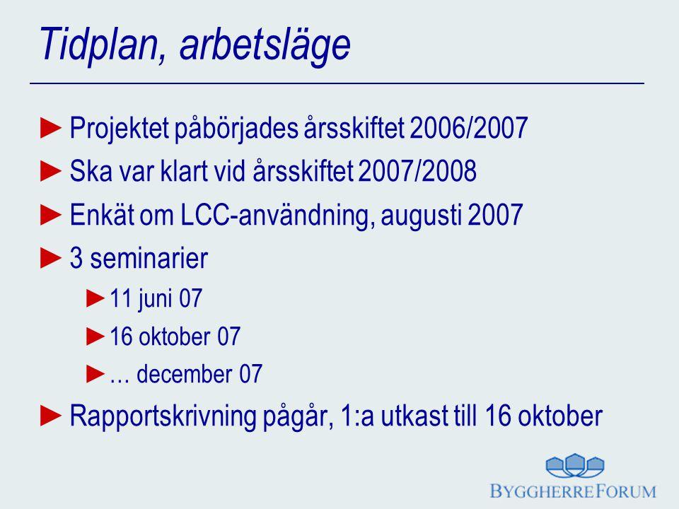 Tidplan, arbetsläge ► Projektet påbörjades årsskiftet 2006/2007 ► Ska var klart vid årsskiftet 2007/2008 ► Enkät om LCC-användning, augusti 2007 ► 3 s