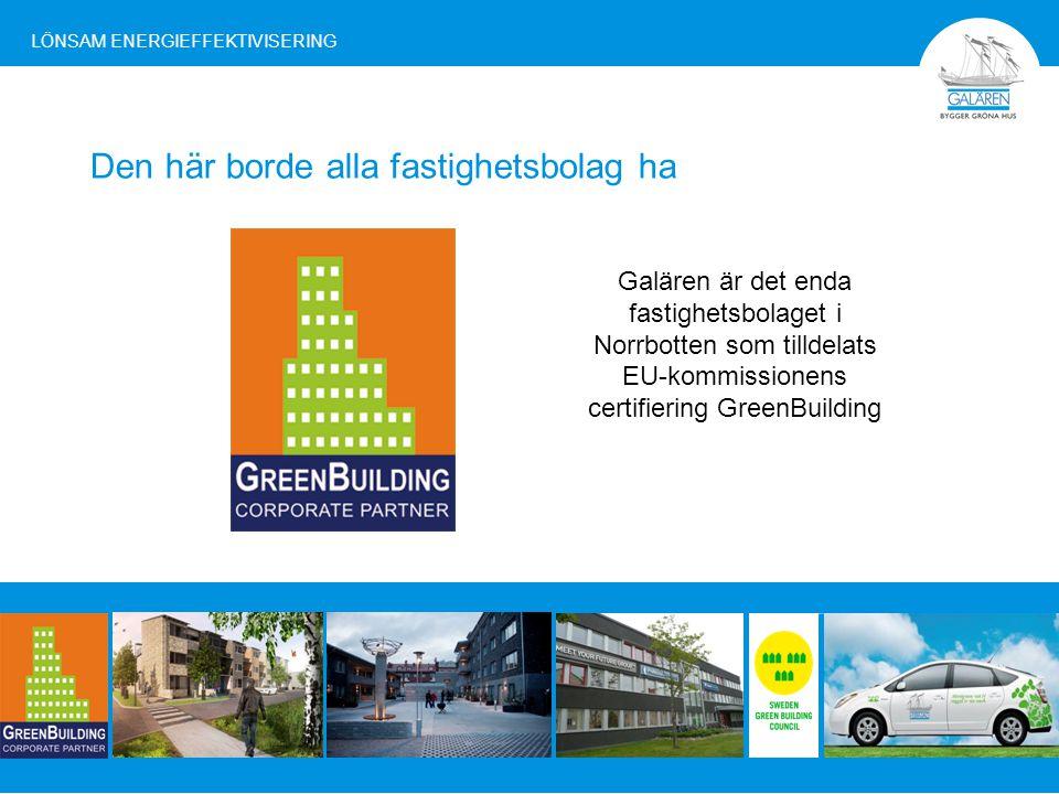 Galären är medlem i Sweden Green Building Council som är en ideell förening för alla företag och organisationer inom den svenska bygg- och fastighetssektorn som vill utveckla och påverka miljö- och hållbarhetsarbetet i branschen.