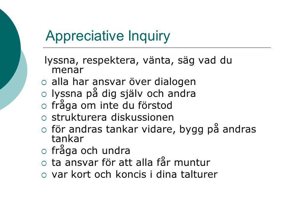Appreciative Inquiry lyssna, respektera, vänta, säg vad du menar  alla har ansvar över dialogen  lyssna på dig själv och andra  fråga om inte du fö